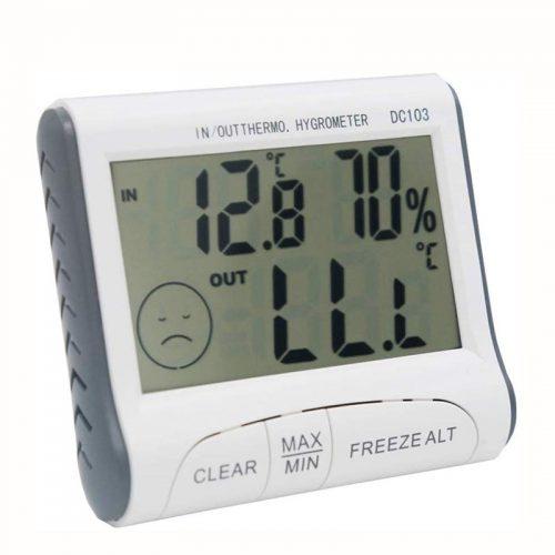 Ψηφιακό θερμόμετρο , υγρασιόμετρο και ρολόι.