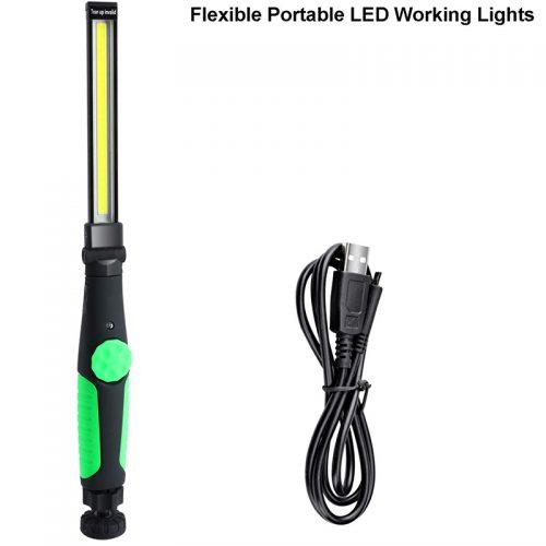 Φορτιζόμενος φακός εργασίας COB LED 360° με μαγνήτη πράσινος.