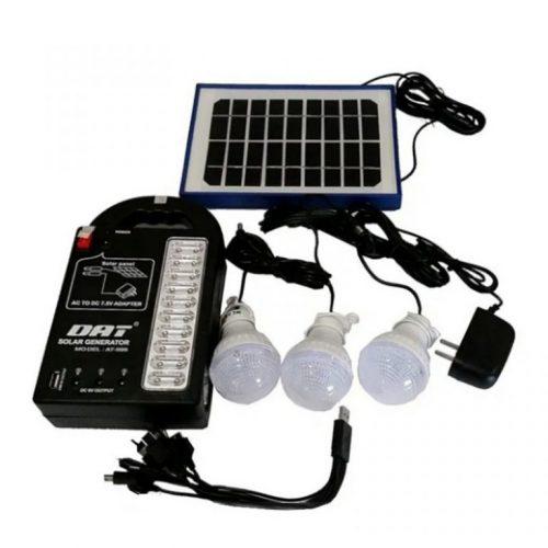 Ηλιακό πακέτο φωτισμού με PANEL, μπαταρία , φωτιστικό με 3 Λάμπες LED & θύρα USB.