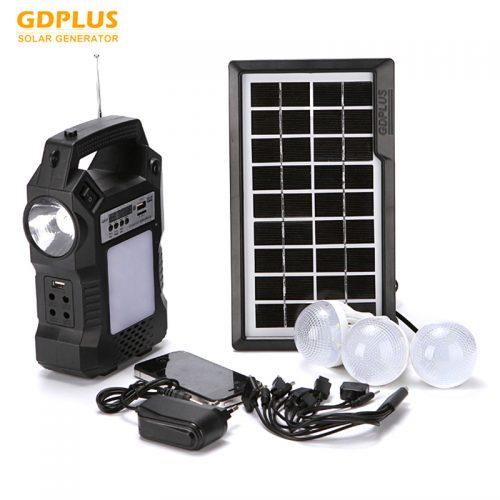 Ηλιακό σύστημα φωτισμού & φόρτισης με ηχείο Mp3 Player FM RADIO, ηλιακό Panel, μπαταρία, φακό και 3 λάμπες LED.