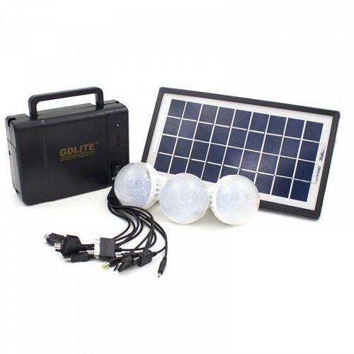Ηλιακό σύστημα φωτισμού με πάνελ , μπαταρία & 3 λάμπες led 3.5w.