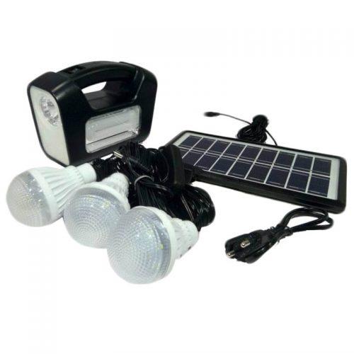 Ηλιακό σύστημα φωτισμού 6V με 3 λάμπες, πολύ ισχυρό φακό & φορτιστή.