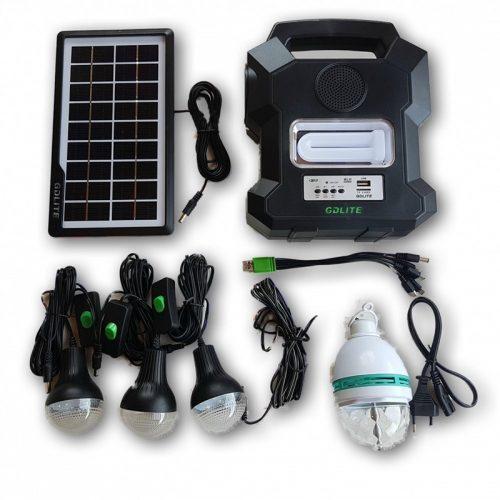 Ηλιακό σύστημα φωτισμού & φόρτισης με ηχείο USBSD Mp3 PLAYER, FM RADIO, ηλιακό PANEL, μπαταρία, φακό & φωτιστικό με 3 Λάμπες LED 200LM & DISCO BALL.