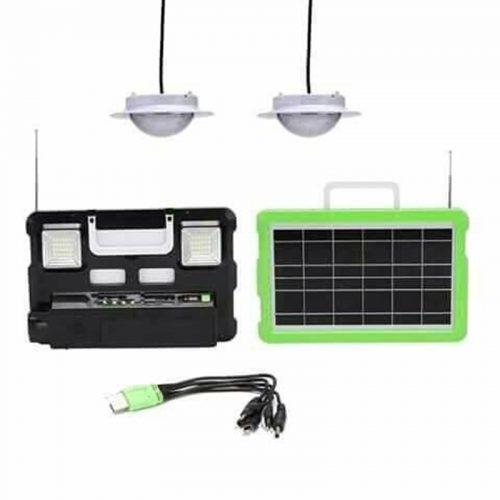 Ηλιακό πάνελ με διπλό φωτιστικό, φακό, ηχείο MULTIMEDIA ράδιο ηλιακός φορτιστής & φωτισμός 2 Λάμπες LED 250. Lumens.