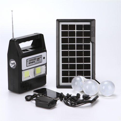 Τηλεχειριζόμενο ηλιακό σύστημα φωτισμού & φόρτισης με ηχείο USB/SD/FM Mp3 PLAYER, ηλιακό PANEL, μπαταρία, φακό & φωτιστικό με 3 λάμπες LED 100LM.