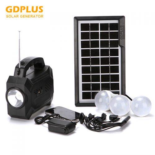 Ηλιακό σύστημα φωτισμού - φόρτισης , Mp3 Player, FM Radio, 3 λάμπες LED, USB & φακός.