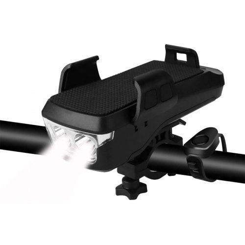 Βάση κινητού για ποδήλατο με φακό κόρνα και POWERBANK CK-2020 μαύρο.
