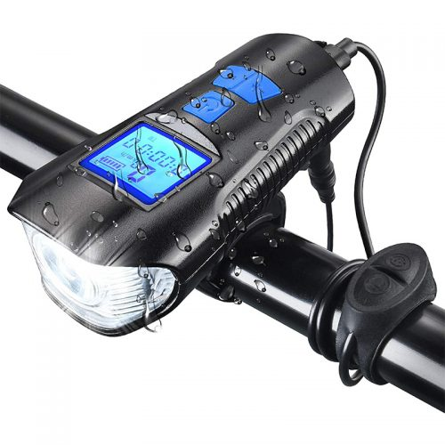 Φακός LED & κοντέρ ποδηλάτου με κόρνα 6 διαφορετικών ήχων FY 317 μπλε.